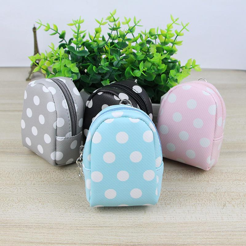 New Korean version of candy color Pu dot Leather Mini Book Pack key chain, zero wallet, coin bag wholesale