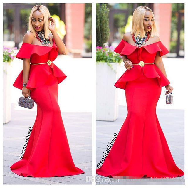 Stylish Red Mermaid Prom Dresses Golden Sash Off Shoulder Sleeveless Ruffles Floor Length Party Dress Sexy Long Evening Dress Formal Gowns