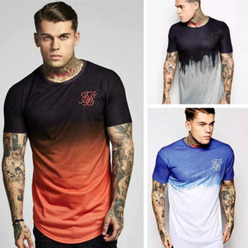 New Men Ss Sik Silk Kanye West Sik Silk Male Casual Hip Hop Irregular Short Sleeved T-shirts M-2XL HOT SELL