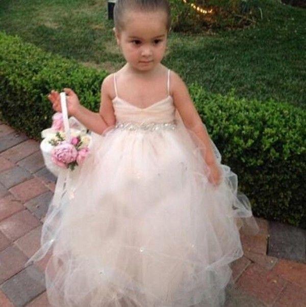 Милый цветок девушка платья спагетти ремень Ruched Badice бисером пикапы юбка шампанское тюль дети бальные платья с бриллиантами бисером пояс