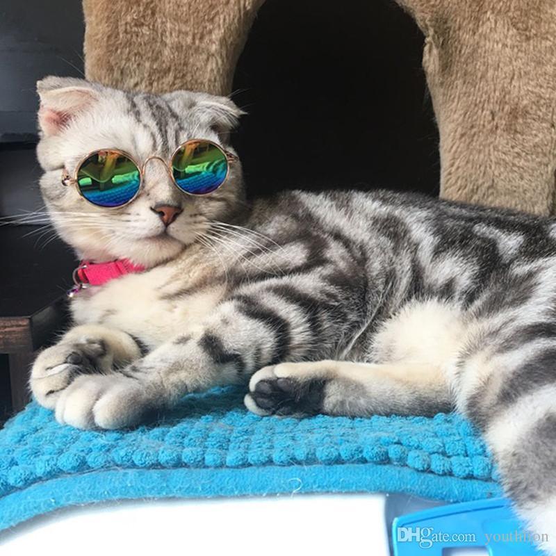 Мода Pet Очки Защитные Очки Солнцезащитные Очки Для Cat Dog Puppy Kitty Фото Реквизит Игрушки Прохладный Круглая Рамка для глаз Смешные Очки Бесплатная Доставка