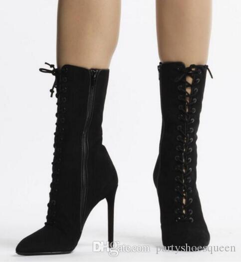 2018 moda kadın botları lace up patik ince topuk sivri burun yüksek topuklu mujer bota Orta Buzağı çizmeler parti ayakkabı ...