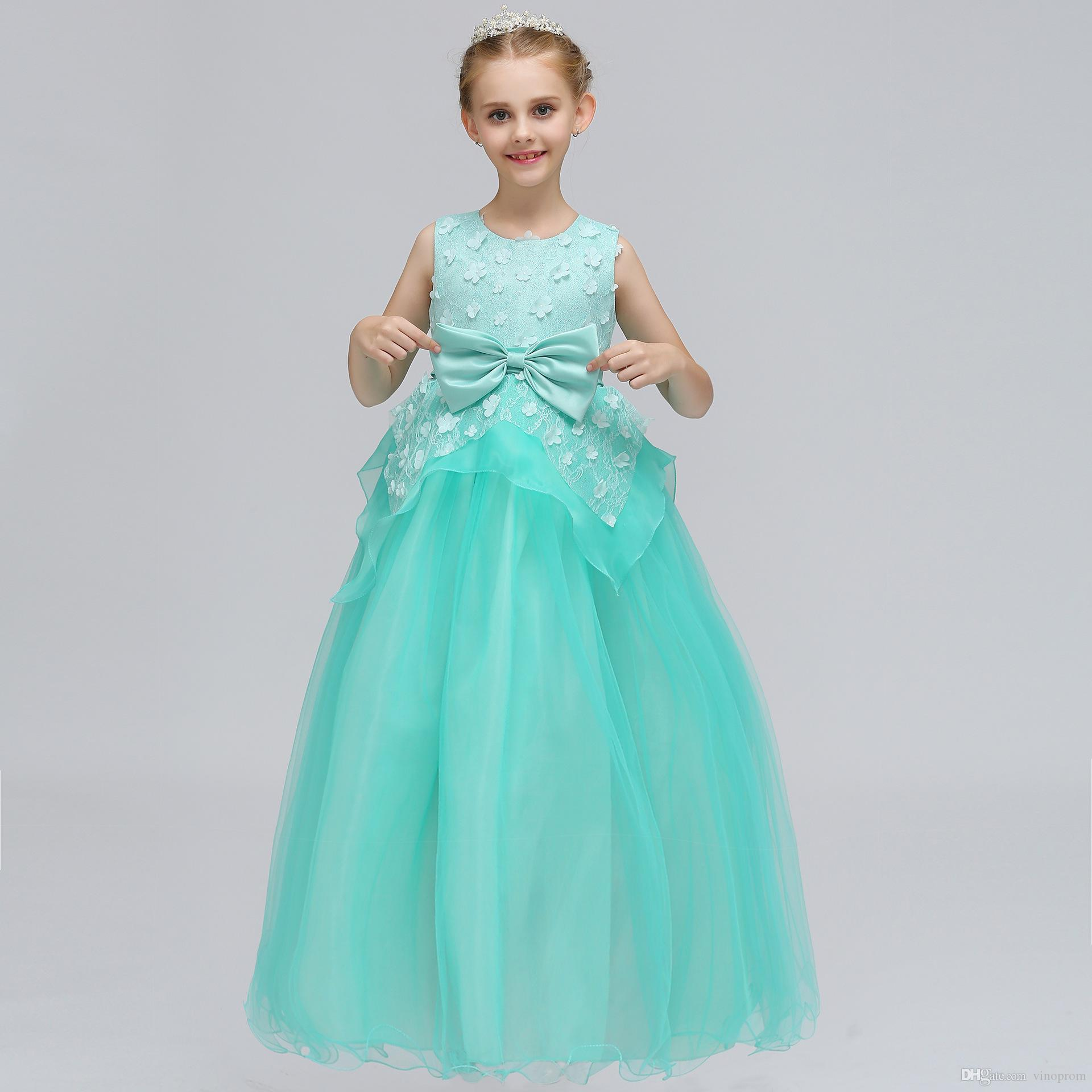 2019 Cheap Royal Blue Flower Girls Dresses Toddler Kids Flower Girl Dress For Weddings Appliques Girls Pageant Prom Gowns