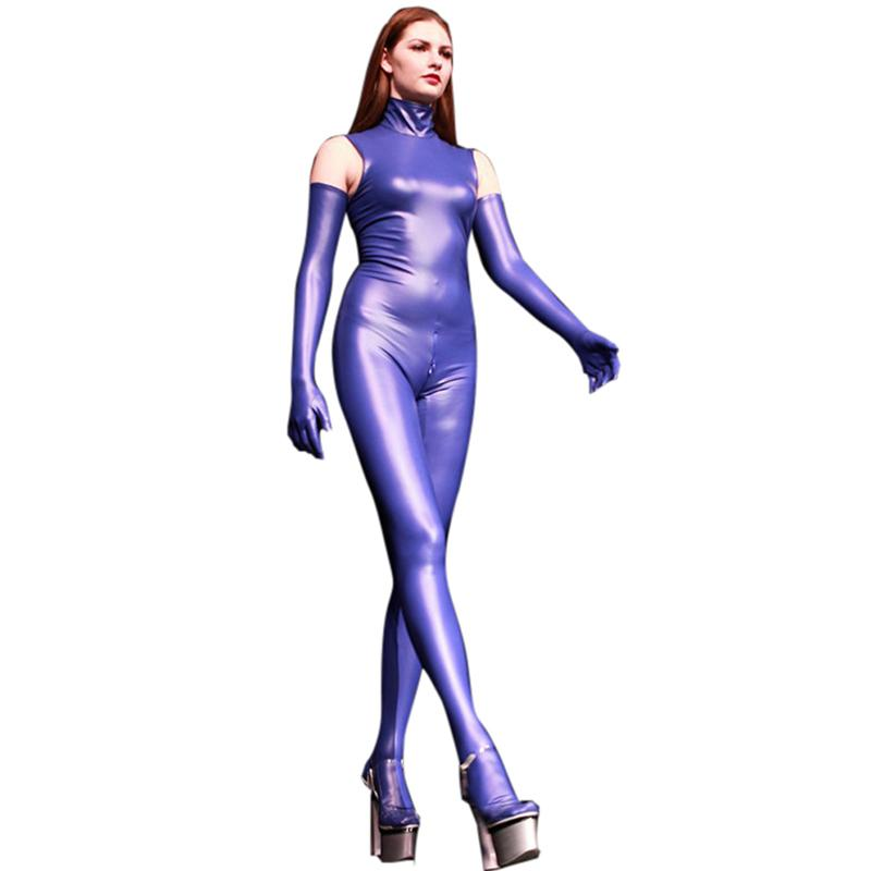 LinvMe Women Synthetic Latex Sleeveless High Neck Zentai Cosplay Catsuit Rubber Bodysuit Jumpsuit Clubwear Body Suits Bodies
