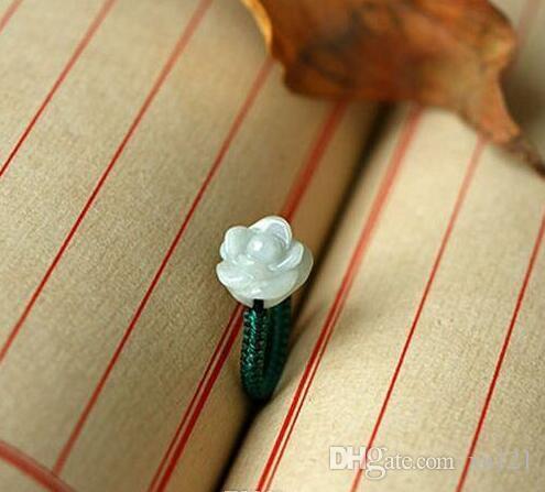 Mode Rose Jade Ringe / geschnitzt Lacquerware Perlen Ringe / Transfer Perlen rot Draht Ringe / Achat Ringe Modeschmuck