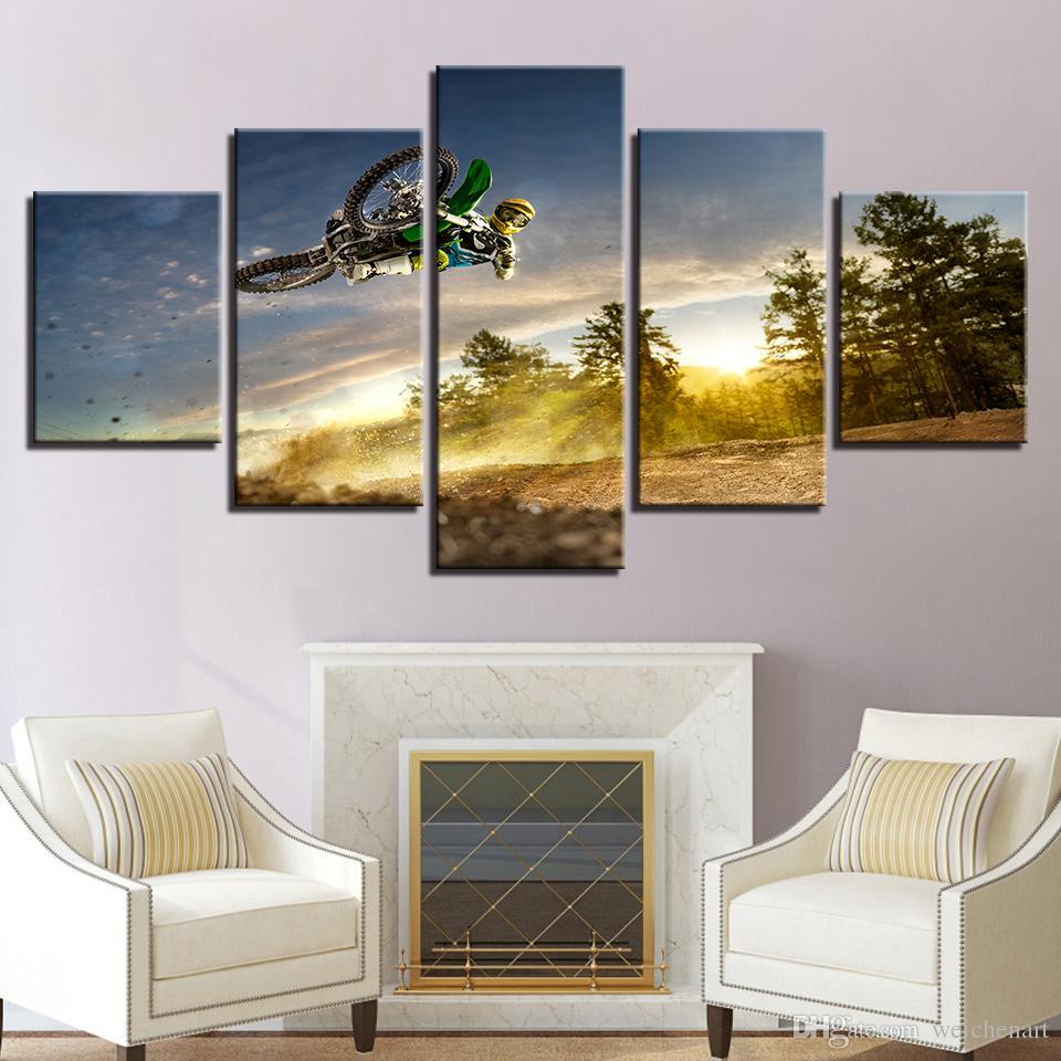 Acheter Hd Toile Salon Moderne Affiche Decor A La Maison 5 Panneau Sunrise Moto Course Paysage Imprime Photos Mur Peinture Cadre De 36 18 Du
