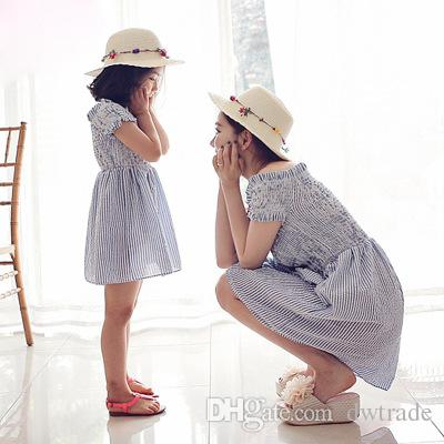 Family Matching Outfits Stripe Collar Blue Stripe Strapless Short Sleeve Dress Gentlewoman Mother&Daughter Dresses Mommy and Me Clothes