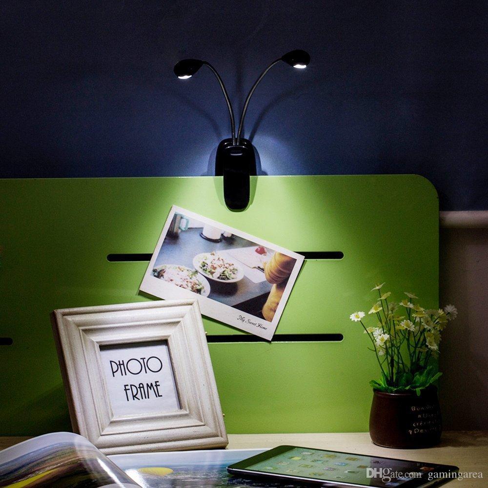 Clip-On clipe flexível Dual LEVOU 2 Braços Música Stands de Leitura ebook e-book Lâmpada de Luz Para LIVROS EBook Estande de Música, LAPTOPS RÁPIDO NAVIO