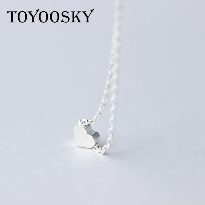 TOYOOSKY 925 Sterling Silver Heart Love Colares simples colar para mulheres Fine Jewelry Colar Bijoux Collier
