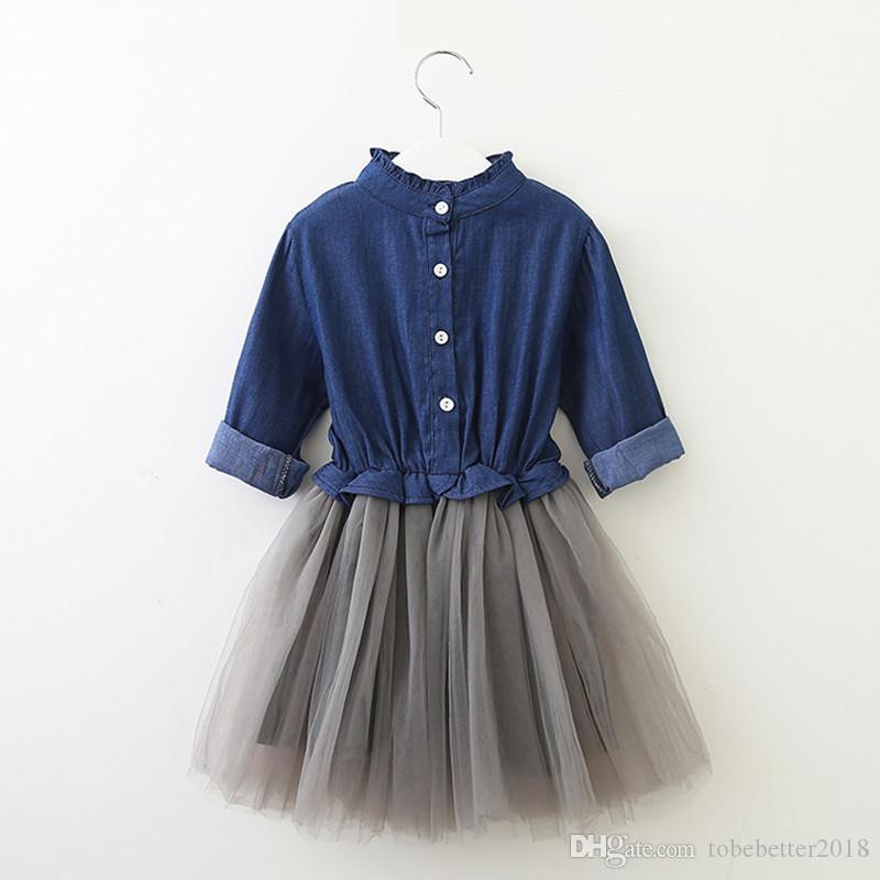 Mode Nette Mädchen Casual Kleid Kinder Mädchen Denim Kleid Langarm Prinzessin Tutu Kleid Cowboy Kleidung
