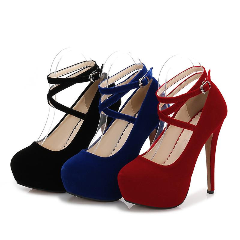 Big size 35-46 women dress shoes classical designer suede round toe cross-tied thin heels party pumps