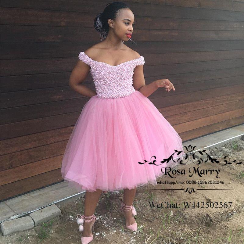 Lüks Pembe Siyah Kızlar Kısa Gelinlikler 2020 Balo Inciler Artı Boyutu Diz Boyu Afrika Örgün Elbise Akşam Giymek Mezuniyet Abiye