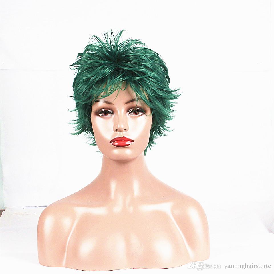 곱슬 머리 가발 6 인치 단파 신디사이저 머리 가발 하이라이트 가발 전체 가발 선택 색상 무료 배송