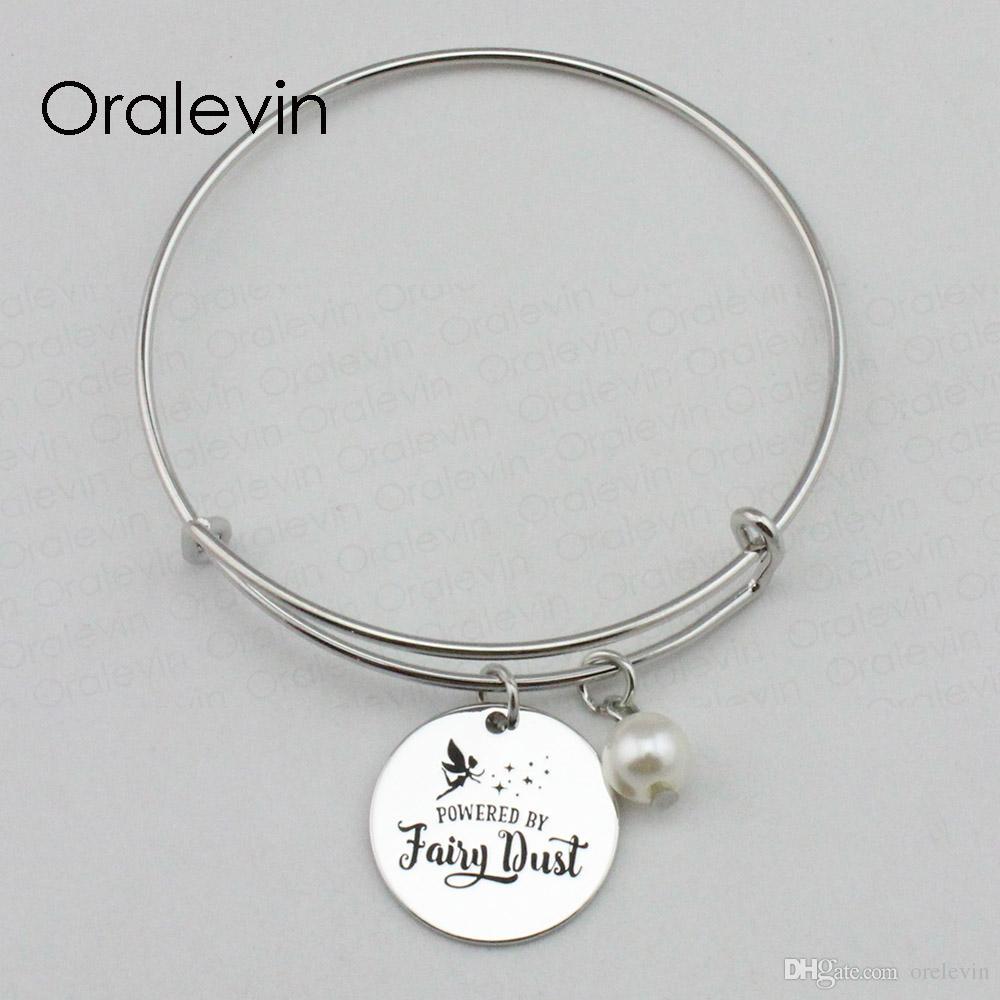ALIMENTÉ PAR FAIRY DUST Inspirational à la main estampé gravé personnalisé pendentif charme fil Bracelet Bracelet cadeau bijoux de mode, 10 Pcs / lot, # LN2283B