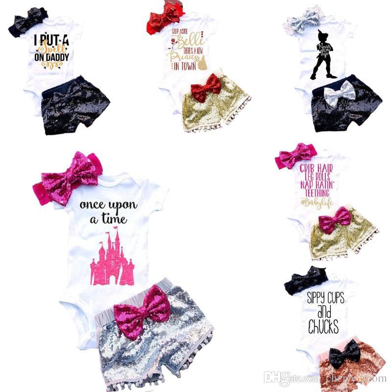 ملابس الطفل لفتاة رسالة الرضع السروال القصير مجموعات الوليد الملابس مجموعات الاطفال مثلث بذلة + شورت براق + القوس الشعر الفرقة 3 قطع مجموعة C1524