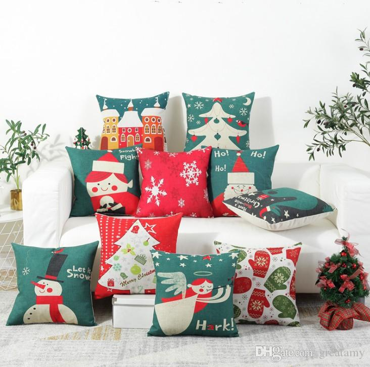 Cotton and linen material pillowcase winter snow printing pillow cushion cover for sofa automobile christmas new year holidays decoration