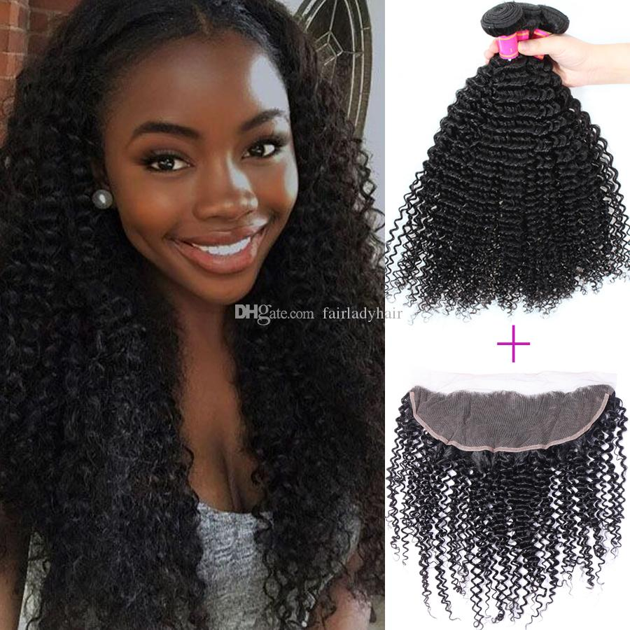 8A Hair Products Unprocessed Brazilian Virgin Human Hair 13x4 Ear to Ear Lace Frontal with 3 Bundles and Human Curly Hair Weaves Closure