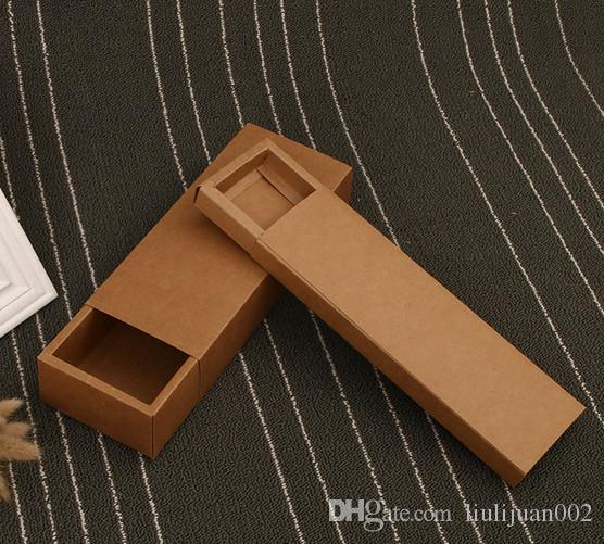 Factory outlets can be printed logo Kraft paper Packing boxes drawer rectangular box free shipping 24.2*7*2.2cm