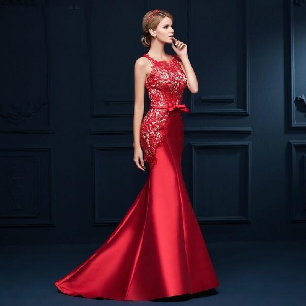 Großhandel Echtes Foto Mutter Braut Dubai Lange Rote Spitze Elegent ...