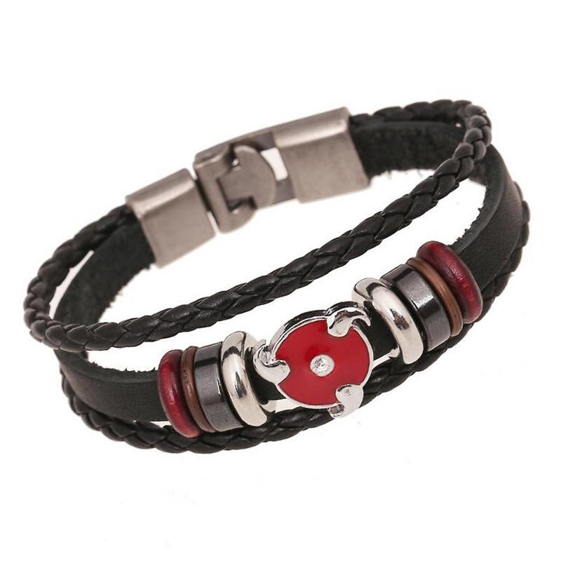Wholesale- Fashion Japanese Anime Bracelet For Teenager Men Women NARUTO Stud Charm Bangle Leather Woven Cuff Bracelet Bead Hand Jewelry