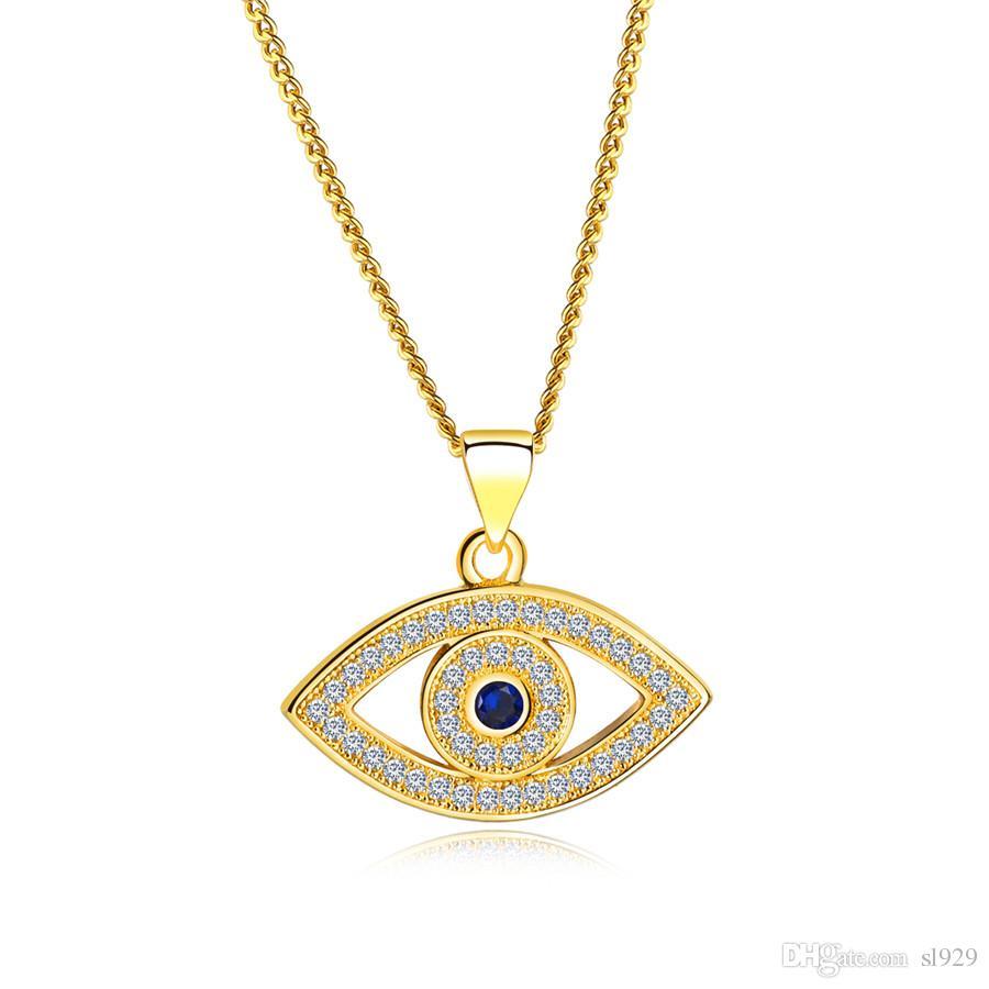 أوروبا والولايات المتحدة الأزياء الكلاسيكية عين الشر قلادة أفخم اللون قصيرة الترقوة سلسلة قلادة أنثى مايكرو المجوهرات بالجملة