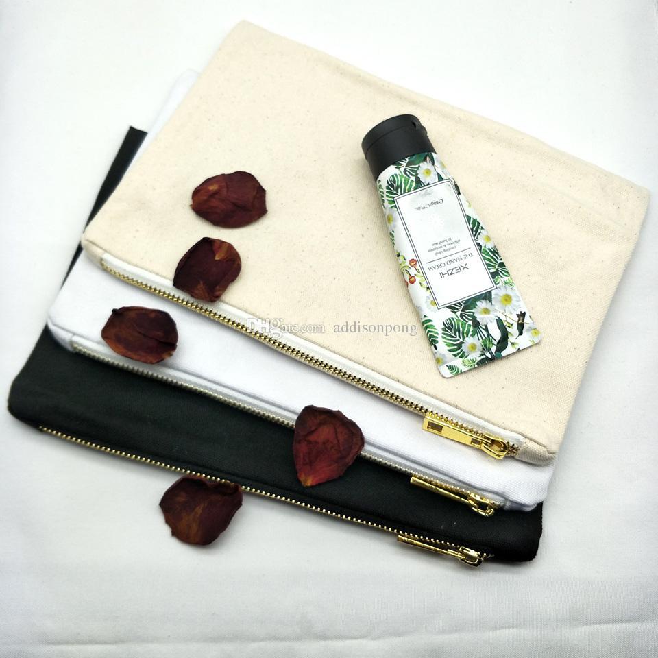 Borsa da trucco in tela di cotone naturale 7x10 pollici borsa cosmetica nera / bianca / avorio con zip in metallo dorato disponibile dalla fabbrica