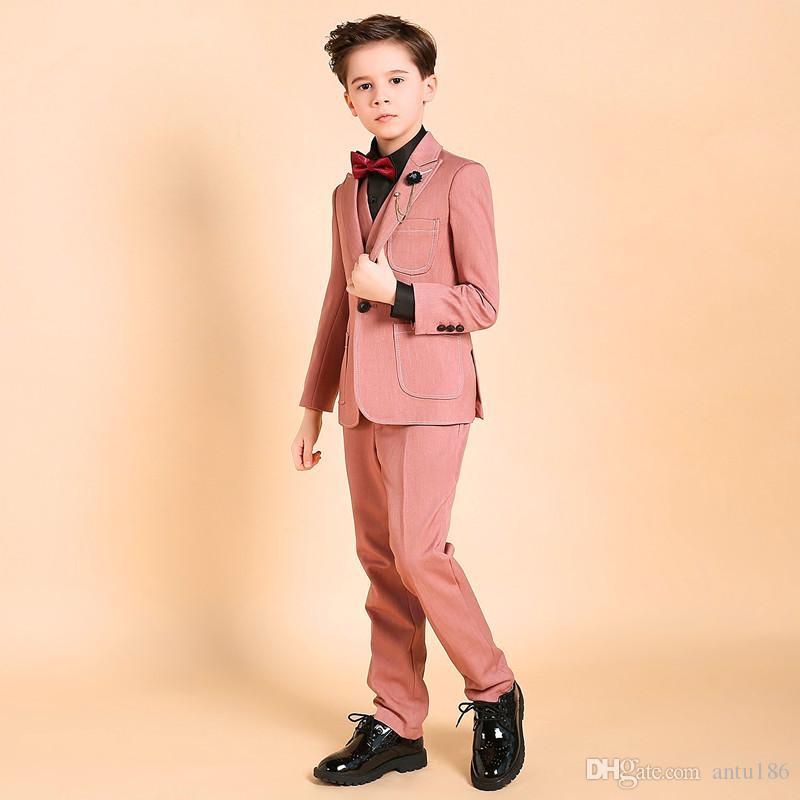 Yüksek kaliteli erkek takım elbise erkek takım elbise üç parçalı takım elbise (ceket + pantolon + yelek) çocuk parti elbise destek özel
