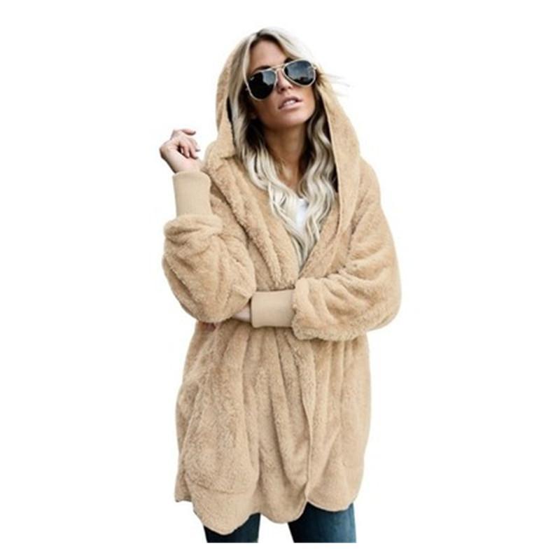 새해 봄 인조 모피 곰 코트 자켓 여성 패션 후드 가디건 오픈 스티치 후드 코트 여성 긴 소매 퍼지 재킷