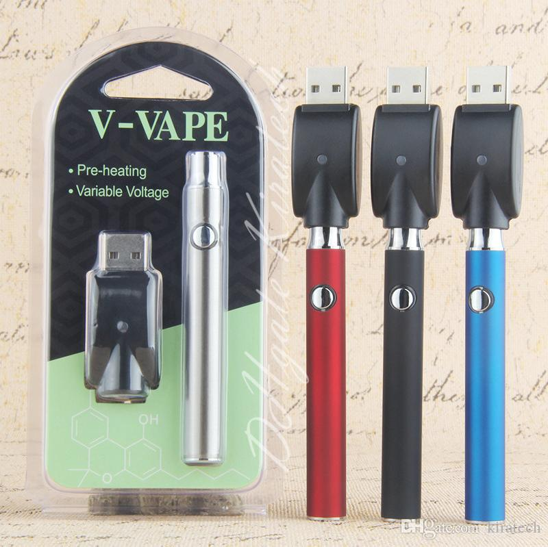 Preheat 510 Vape Pen Battery Kit 3 Temp Setting co2 Oil Vaporizer Pen V-Vape Vaping Adjustable vaporizer variable voltage with usb charger