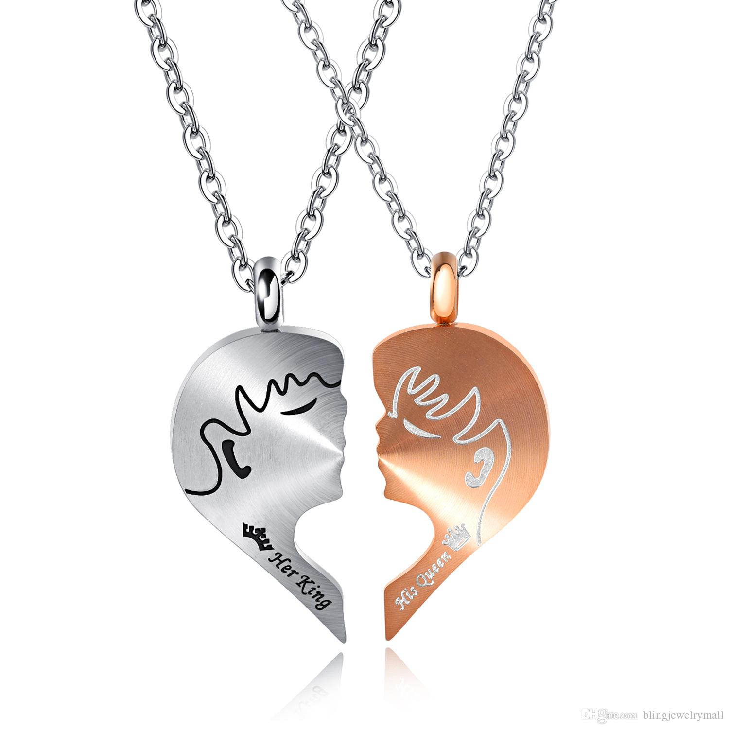 Her King His Queen Love Necklaces for Couples Titanium Steel Necklace & pendants Link Chain Trendy Pendant Necklaces 1378