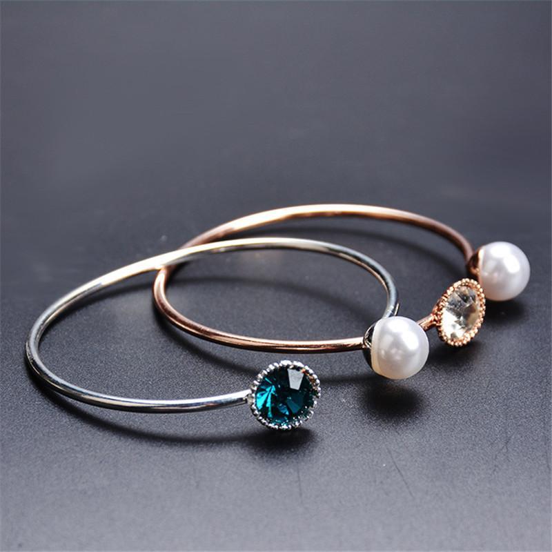 Свадебные украшения Rosegold / посеребренные открытые браслеты простые моделируемые жемчужные бусины горный хрусталь регулируемые браслеты женщин