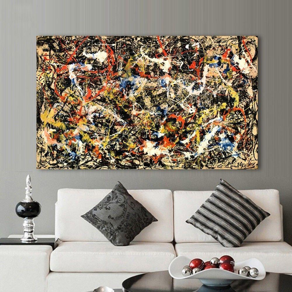 Jackson Pollock number 8 oil Paint  Re print Framed CANVAS Wall Art  Home Decor