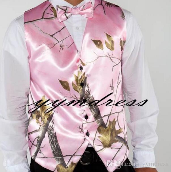 Pink Camo Printed Wedding Groom Vests Groomsmen Vests Men's Suit Vests Vest Men's Dress Vest Waistcoat Dress Hunter Prom Party Farm Custom