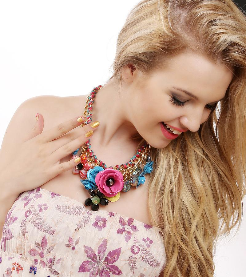 European and American fashion and exaggerated female Pendant Necklace, hand-made rope, flower jewelry accessories wholesale and retail