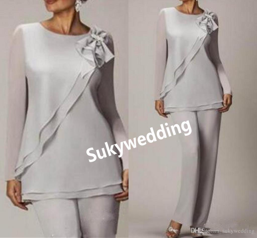 Graceful Silber Chiffon Mutter der Braut-Hose passt Günstige Langarm-formale Kleid-Abend-Plus Size Zwei Stücke Mutter des Bräutigams Kleider