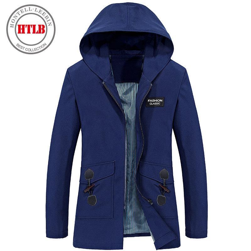 HTLB 2017 Yeni Stil Uzun Trençkot Ceket Erkekler Marka Kapşonlu Rüzgar Geçirmez Giyim Moda Rahat Uzun Ceketler Palto Mens Palto