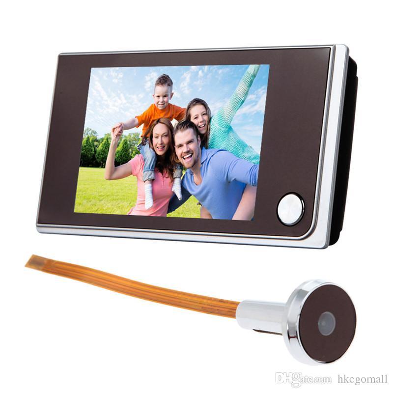 3.5 inch Digital Doorbell LCD Color Screen 120 Degree Peephole Viewer Door Eye Doorbell Mini Outdoor Color Camera TH4