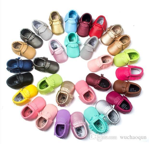 51 Colores Mocasines Baby Soft Sole PU Cuero First Walker Zapatos Babys Newborn Tassels Shoe Shoe Random Enviar