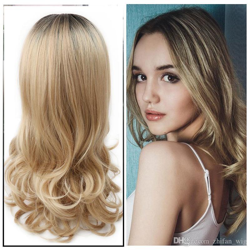 Großhandel Zf Curly Schwarz Braun Ombre Blonde Farbe Synthetische Perücken Körperwelle Mittellanges Stil Haar Für Weiß Schwarze Frauen Von Zhifanwig