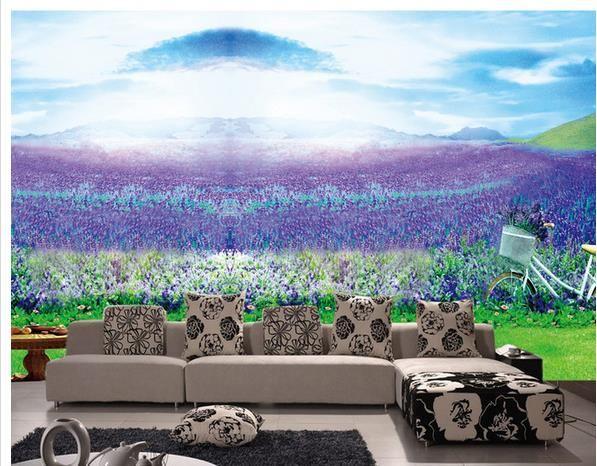3d murais de parede papel de parede 3D tridimensional pintura a óleo roxo lavanda TV fundo parede