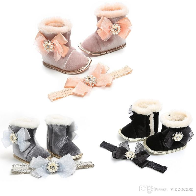 Vieeoease Baby Girls Shoes 2018 Autumn Winter Fashion Pearl Bow Thicked Boot Anti Slip PU Princess Shoes with Headband EE-1076