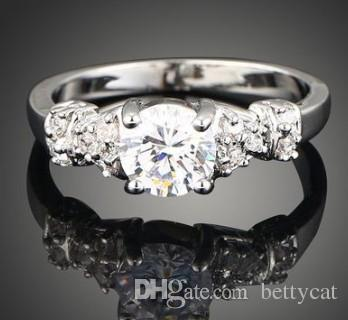 New arrival women fashion jewelry hearts arrows diamond zircon bride engagement wedding ring girl festival gift Christmas birthday