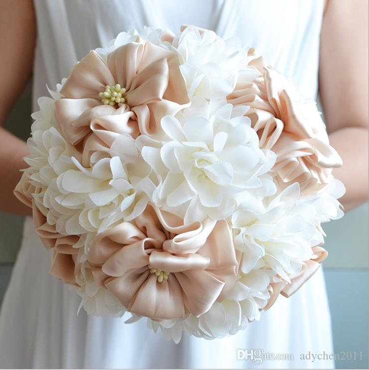 Румяна Розовый Атлас Свадебные Букеты Шелковый Цветок Ручной Работы Искусственные Свадебные Цветы Элегантный Boho Свадьба Богемный Стиль Свадебные Букеты