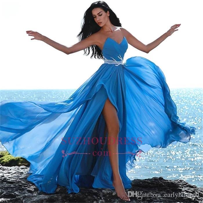 Strapless blue chiffong prom klänningar sexig sida slits älskling golv längd kväll fest klänning formellt tillfälle bär bc0296