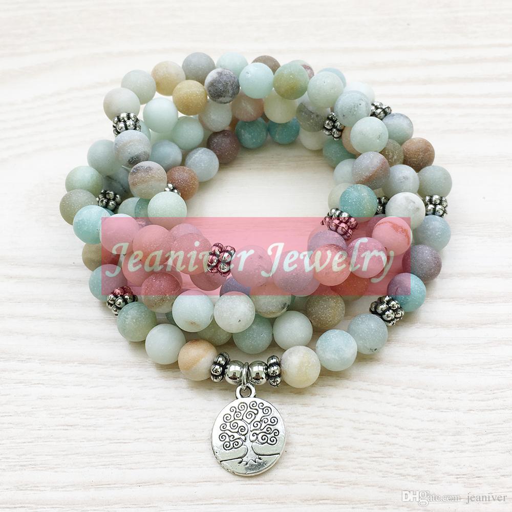 Jeaniver Trendy Design Women`s 108 Mala Bracelet Mat Collier Amazonite Yoga Arbre de vie Bijoux Meilleur cadeau