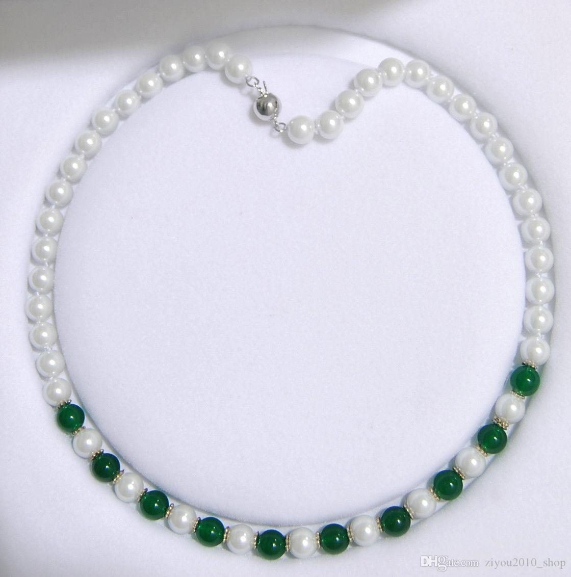 perles rondes perle de jade vert main coquille blanche 8 mm charme nouée collier 45cm bijoux de mode 3pc / lot