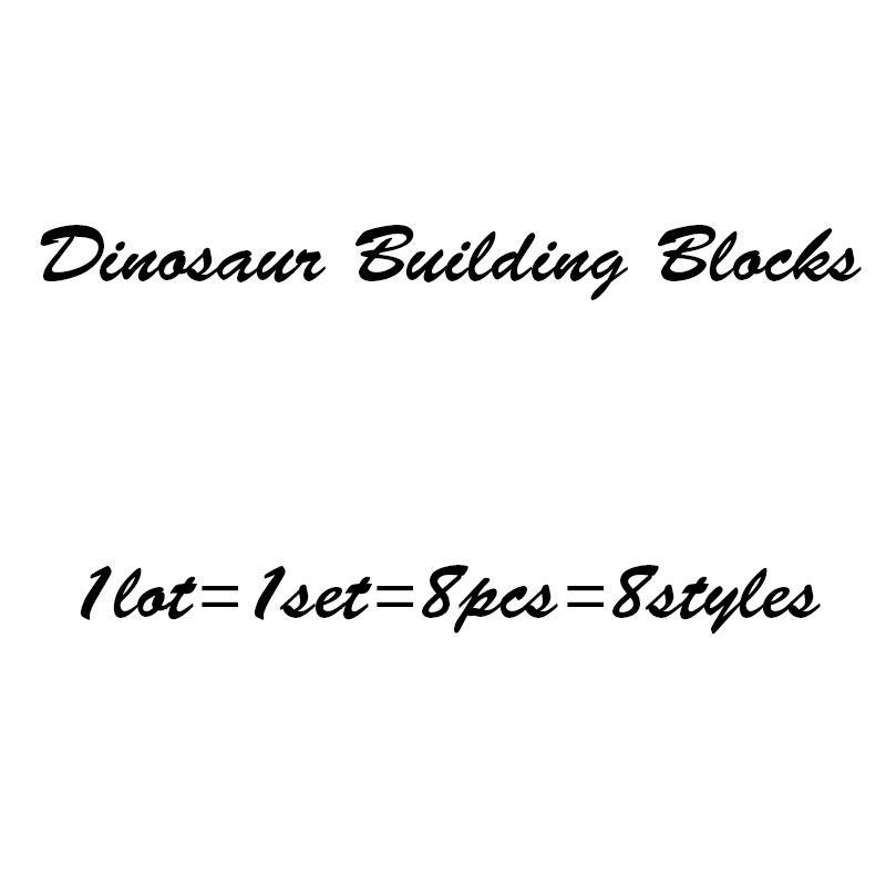 New Children Dinosaur Building Blocks cartoon Dinosaur Blocks 8pcs/set baby Bricks toys C2354