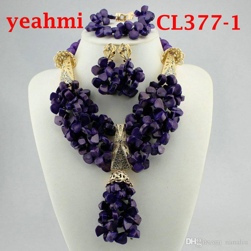 Splendid Real Coral Bead African Wedding Jewelry Sets Dubai Gold Chunky Bib Necklace Set Traditional Nigerian Wedding Bead CL377-1