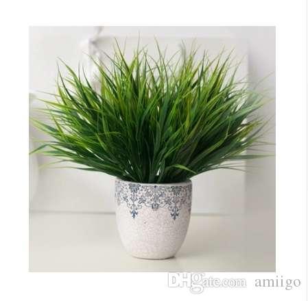 Nova 7-garfo Grama Verde Plantas Artificiais Para Flores De Plástico Casa Loja Dest Rústico Decoração Trevo Planta Atacado