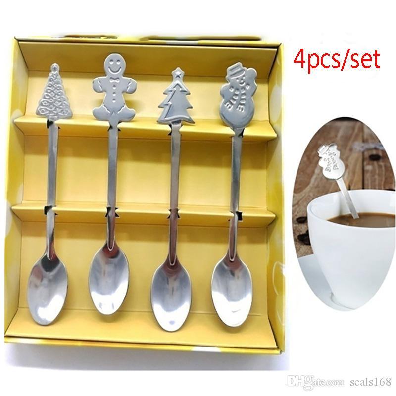 4pcs/Set Christmas Stainless Steel Spoon Kit Coffee Tea Spoon For Snowman Xmas Tree Home Kitchen Utensils Tableware Kids Spoon HH7-1702